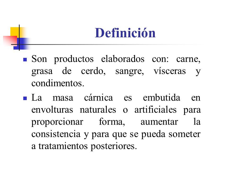 Definición Son productos elaborados con: carne, grasa de cerdo, sangre, vísceras y condimentos. La masa cárnica es embutida en envolturas naturales o