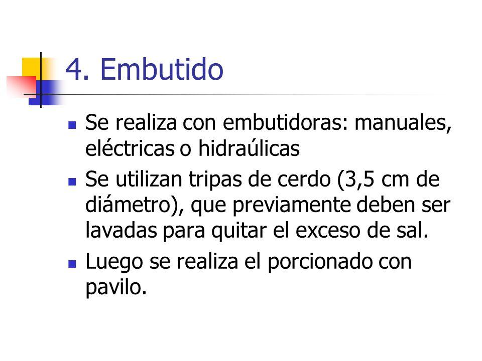 4. Embutido Se realiza con embutidoras: manuales, eléctricas o hidraúlicas Se utilizan tripas de cerdo (3,5 cm de diámetro), que previamente deben ser