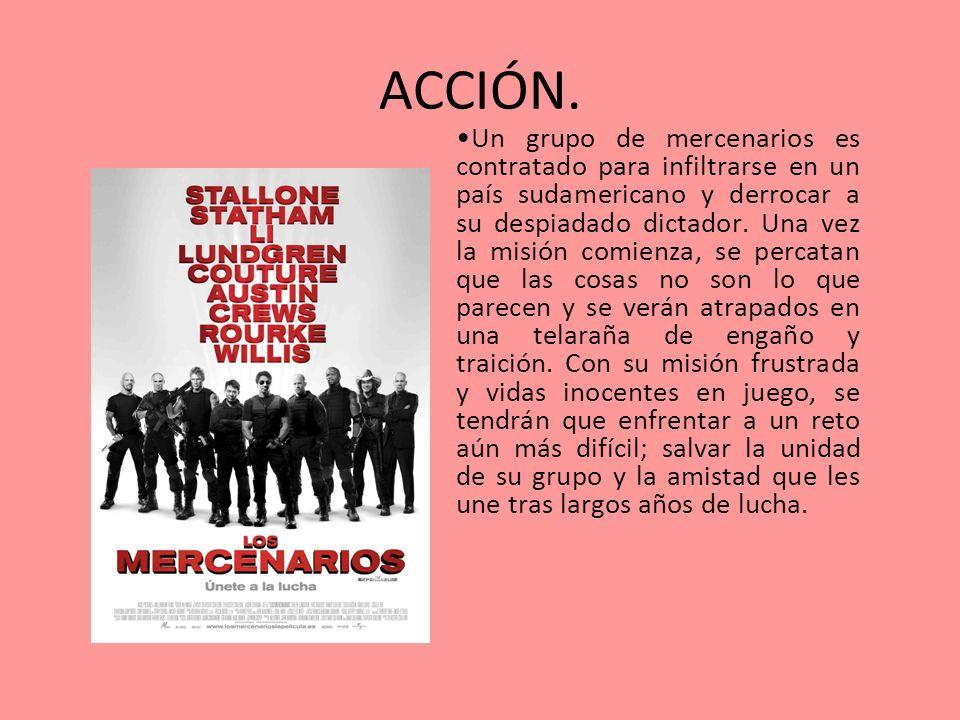 ACCIÓN. Un grupo de mercenarios es contratado para infiltrarse en un país sudamericano y derrocar a su despiadado dictador. Una vez la misión comienza