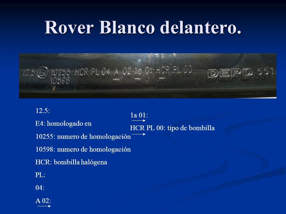 Rover Blanco delantero. 12.5: E4: homologado en 10255: numero de homologación 10598: numero de homologación HCR: bombilla halógena PL: 04: A 02: 1a 01