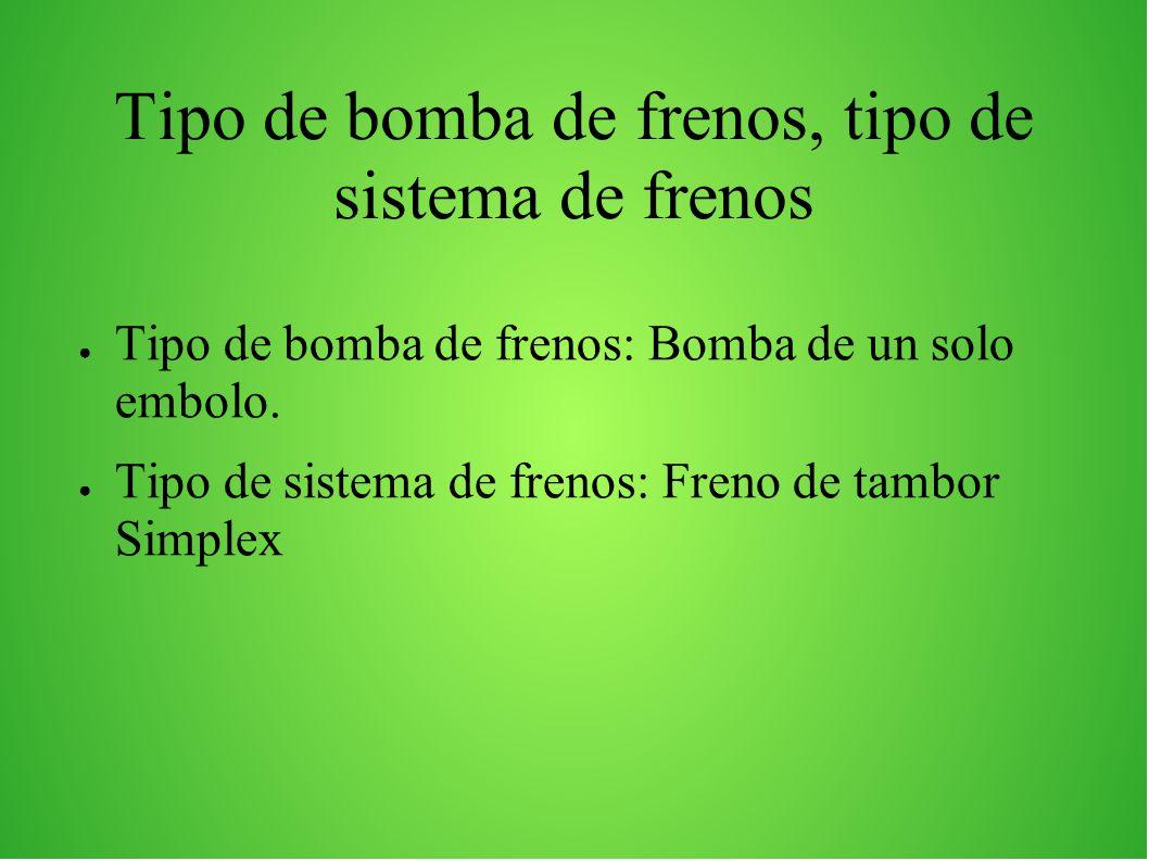 Tipo de bomba de frenos, tipo de sistema de frenos Tipo de bomba de frenos: Bomba de un solo embolo. Tipo de sistema de frenos: Freno de tambor Simple