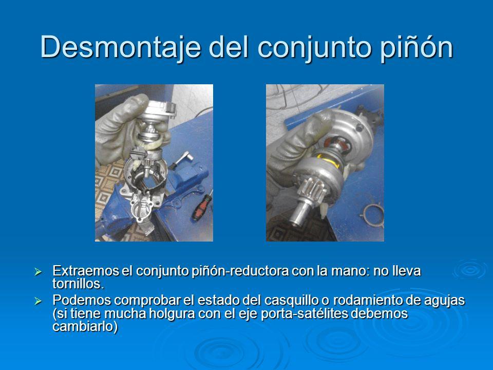 Desmontaje del conjunto piñón Extraemos el conjunto piñón-reductora con la mano: no lleva tornillos. Extraemos el conjunto piñón-reductora con la mano