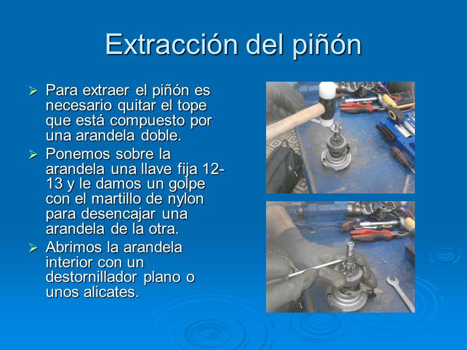 Extracción del piñón Para extraer el piñón es necesario quitar el tope que está compuesto por una arandela doble. Para extraer el piñón es necesario q