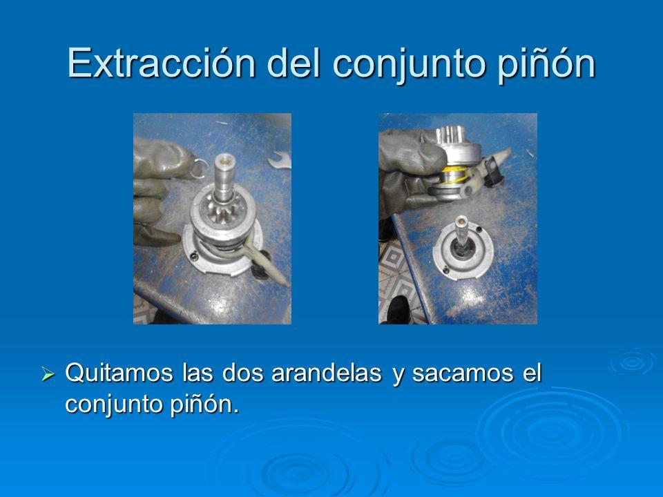 Extracción del conjunto piñón Quitamos las dos arandelas y sacamos el conjunto piñón. Quitamos las dos arandelas y sacamos el conjunto piñón.