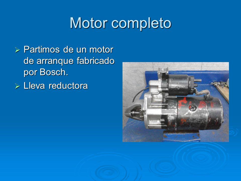 Motor completo Partimos de un motor de arranque fabricado por Bosch. Partimos de un motor de arranque fabricado por Bosch. Lleva reductora Lleva reduc