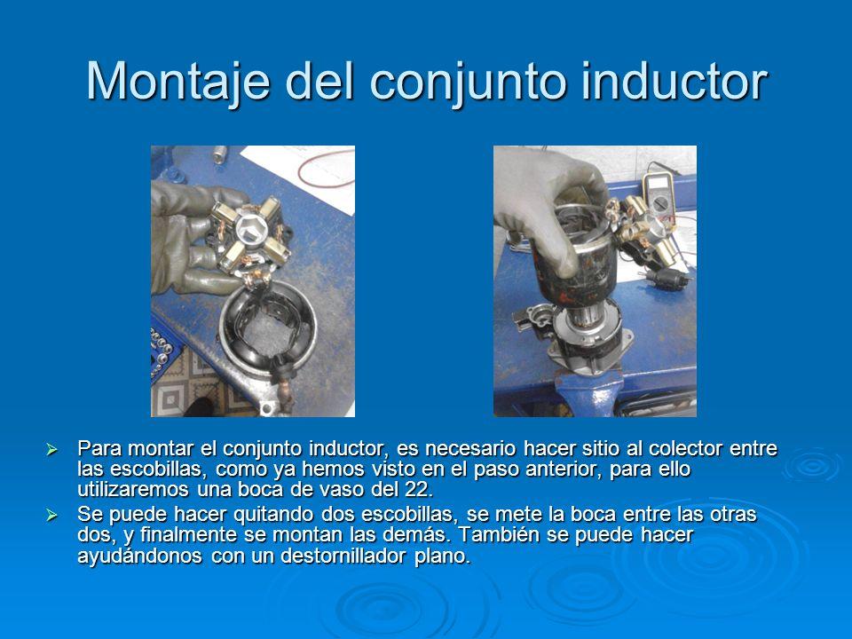 Montaje del conjunto inductor Para montar el conjunto inductor, es necesario hacer sitio al colector entre las escobillas, como ya hemos visto en el p