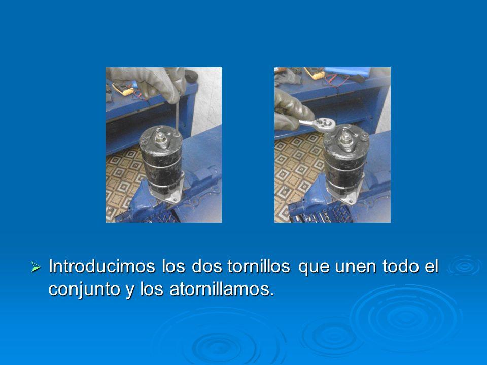Montaje de Montaje de Montaje de Montaje de Introducimos los dos tornillos que unen todo el conjunto y los atornillamos. Introducimos los dos tornillo