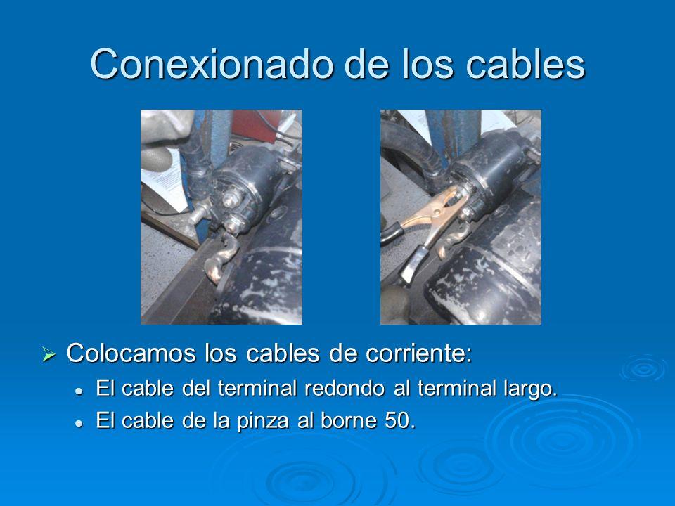 Conexionado de los cables Colocamos los cables de corriente: Colocamos los cables de corriente: El cable del terminal redondo al terminal largo. El ca