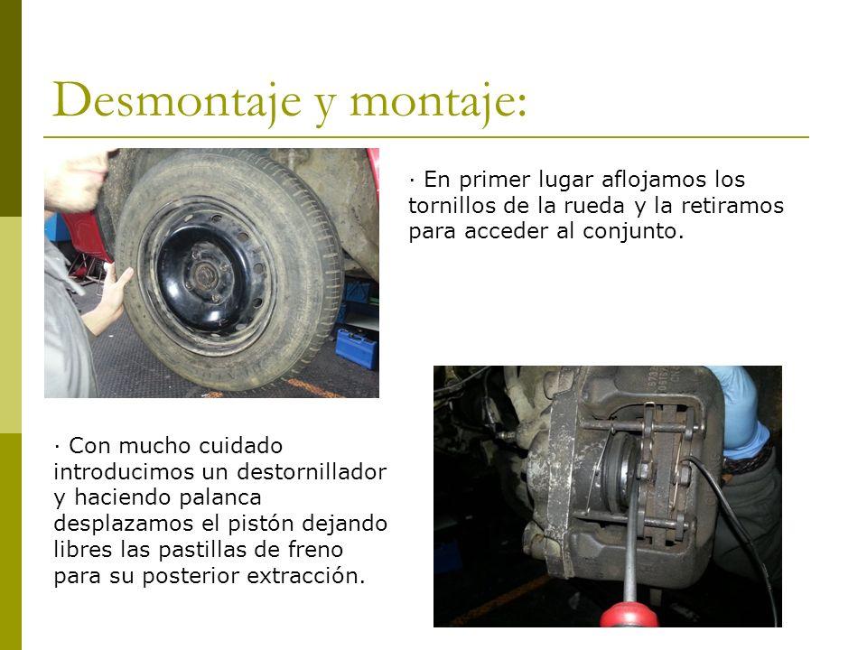 Desmontaje y montaje: · En primer lugar aflojamos los tornillos de la rueda y la retiramos para acceder al conjunto. · Con mucho cuidado introducimos