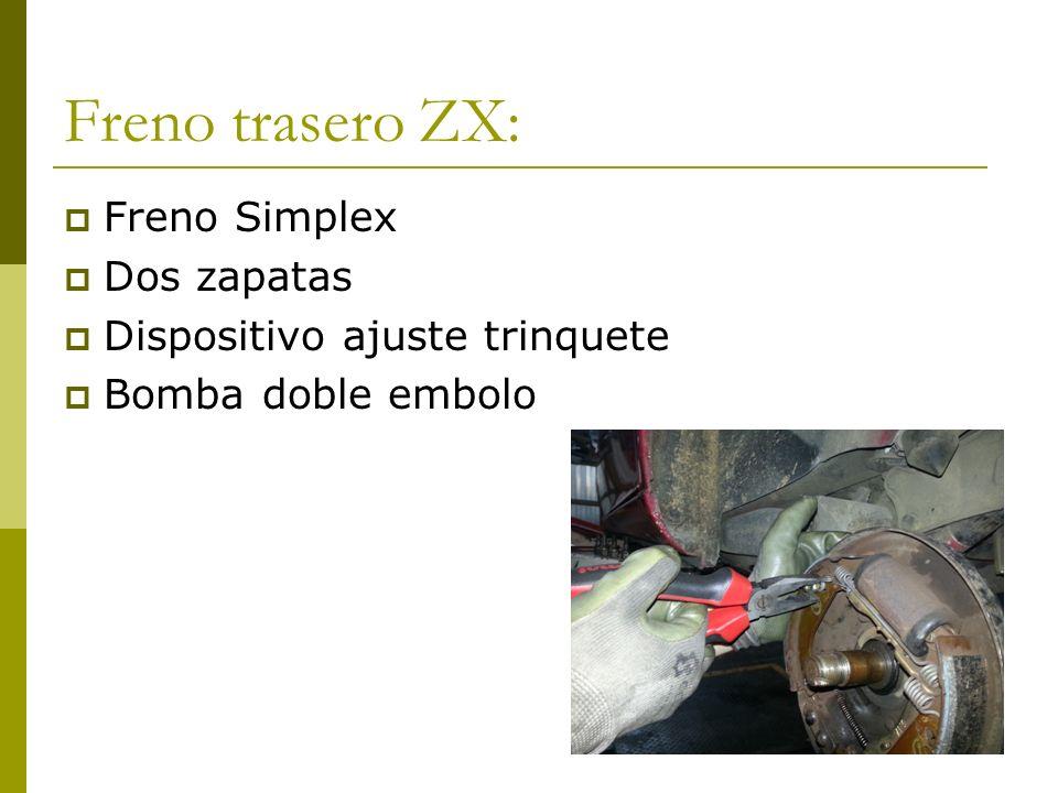 Freno trasero ZX: Freno Simplex Dos zapatas Dispositivo ajuste trinquete Bomba doble embolo