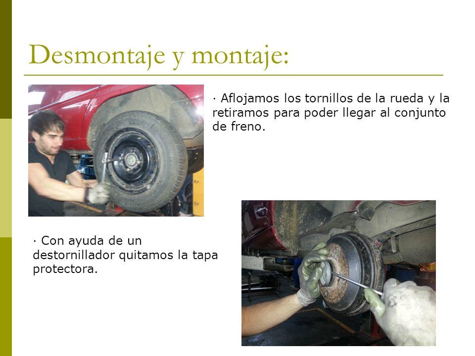 Desmontaje y montaje: · Aflojamos los tornillos de la rueda y la retiramos para poder llegar al conjunto de freno. · Con ayuda de un destornillador qu