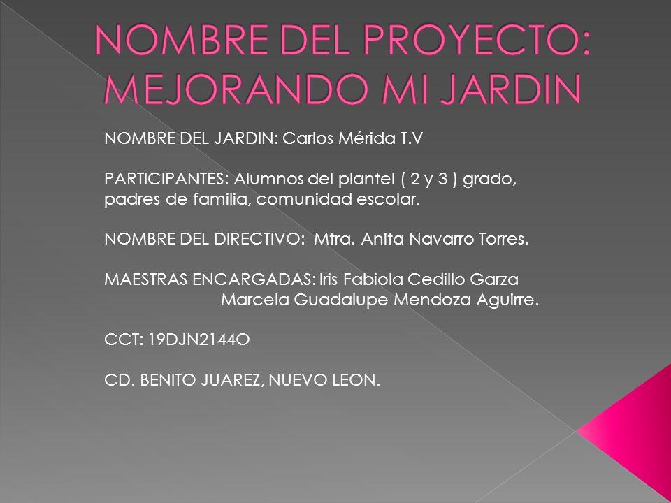 NOMBRE DEL JARDIN: Carlos Mérida T.V PARTICIPANTES: Alumnos del plantel ( 2 y 3 ) grado, padres de familia, comunidad escolar. NOMBRE DEL DIRECTIVO: M