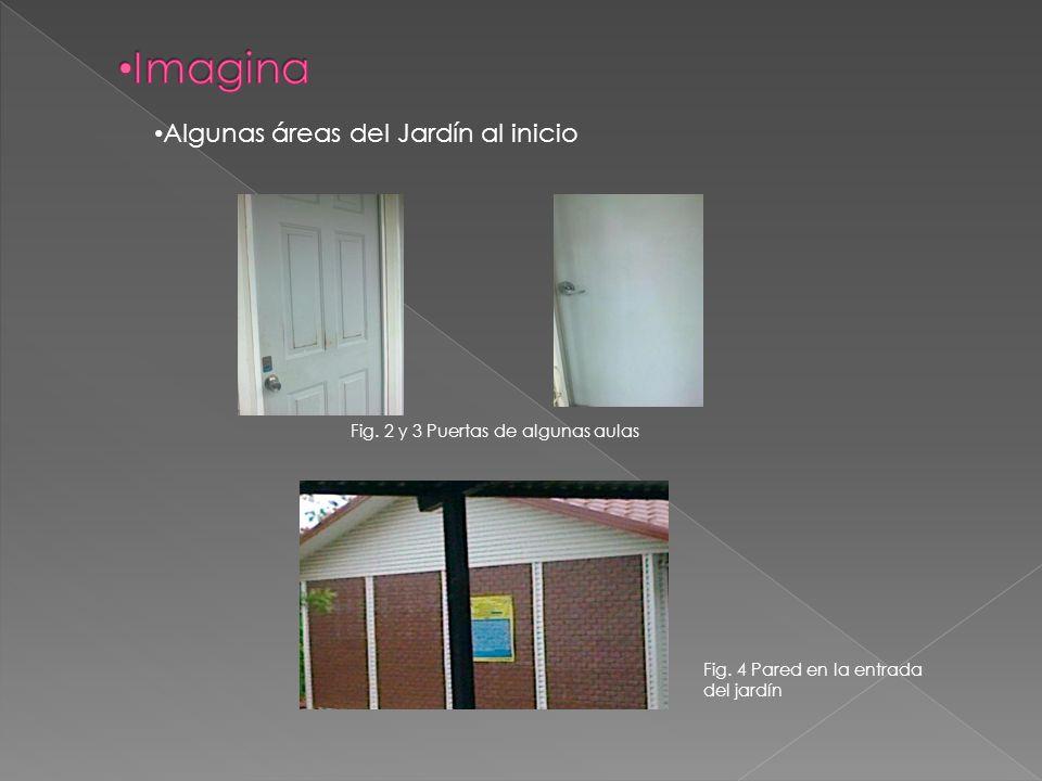 Fig. 2 y 3 Puertas de algunas aulas Fig. 4 Pared en la entrada del jardín Algunas áreas del Jardín al inicio