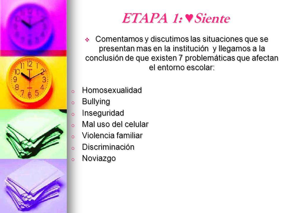 ETAPA 1: Siente Comentamos y discutimos las situaciones que se presentan mas en la institución y llegamos a la conclusión de que existen 7 problemátic