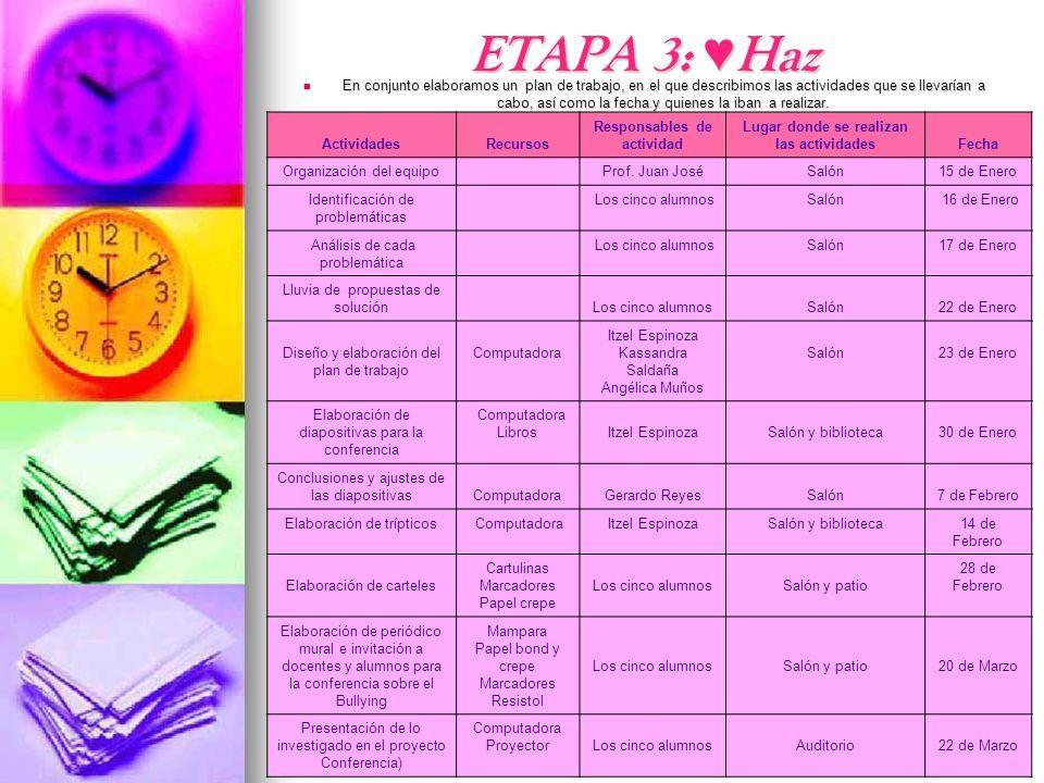 ETAPA 3: Haz En conjunto elaboramos un plan de trabajo, en el que describimos las actividades que se llevarían a cabo, así como la fecha y quienes la