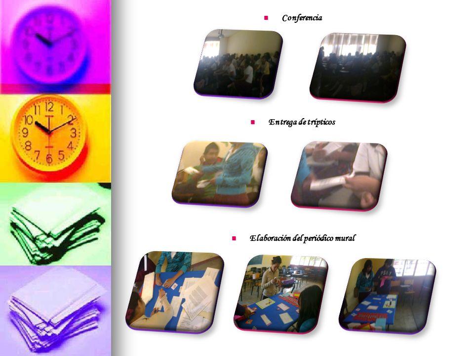 Conferencia Conferencia Entrega de trípticos Entrega de trípticos Elaboración del periódico mural Elaboración del periódico mural
