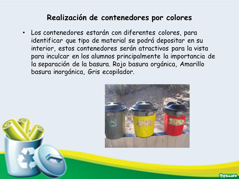 Realización de contenedores por colores Los contenedores estarán con diferentes colores, para identificar que tipo de material se podrá depositar en s