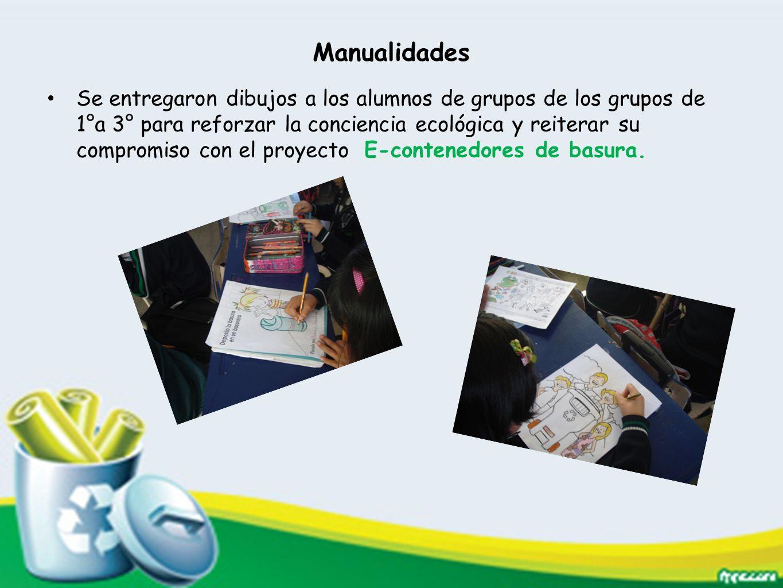Manualidades Se entregaron dibujos a los alumnos de grupos de los grupos de 1°a 3° para reforzar la conciencia ecológica y reiterar su compromiso con