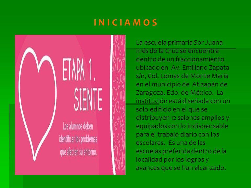 I N I C I A M O S La escuela primaria Sor Juana Inés de la Cruz se encuentra dentro de un fraccionamiento ubicado en Av. Emiliano Zapata s/n, Col. Lom