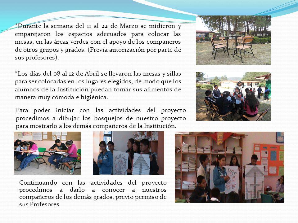 *Durante la semana del 11 al 22 de Marzo se midieron y emparejaron los espacios adecuados para colocar las mesas, en las áreas verdes con el apoyo de los compañeros de otros grupos y grados.
