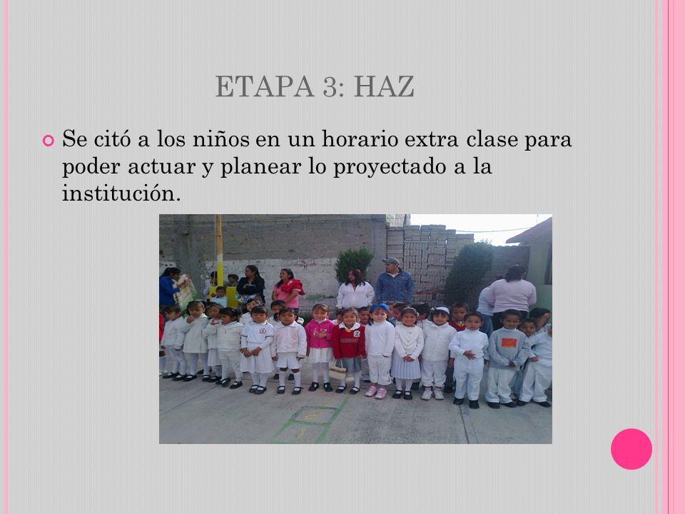 ETAPA 3: HAZ Se citó a los niños en un horario extra clase para poder actuar y planear lo proyectado a la institución.