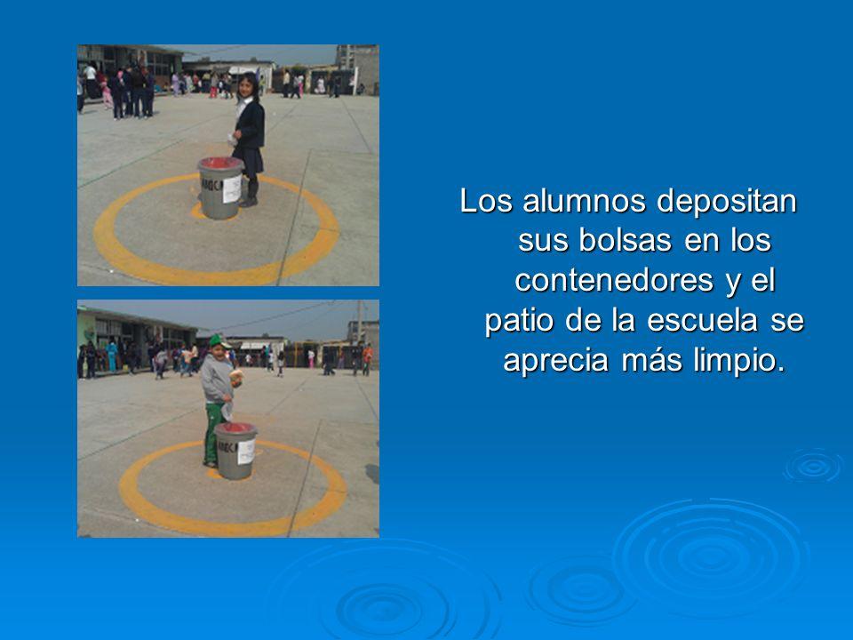 Los alumnos depositan sus bolsas en los contenedores y el patio de la escuela se aprecia más limpio.