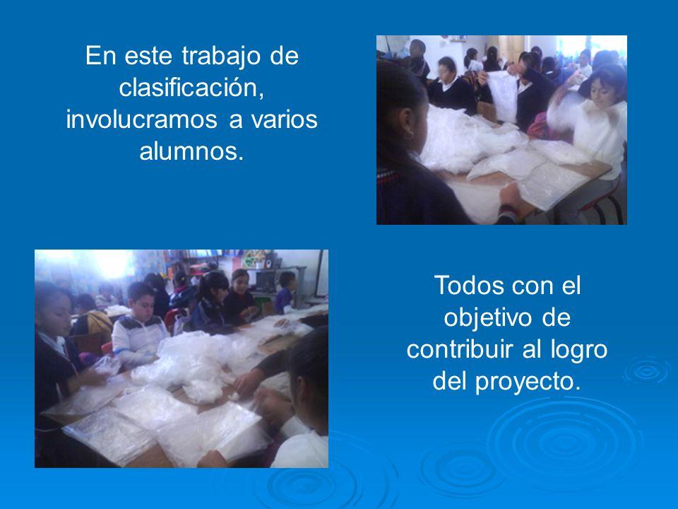 En este trabajo de clasificación, involucramos a varios alumnos. Todos con el objetivo de contribuir al logro del proyecto.