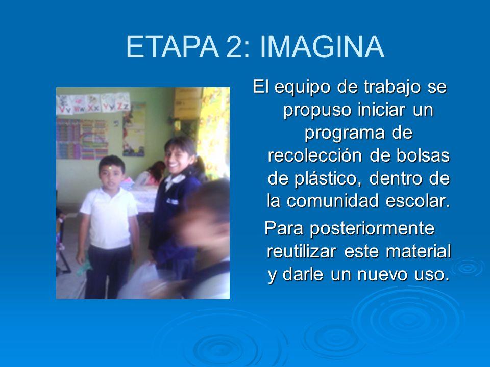 El equipo de trabajo se propuso iniciar un programa de recolección de bolsas de plástico, dentro de la comunidad escolar. Para posteriormente reutiliz