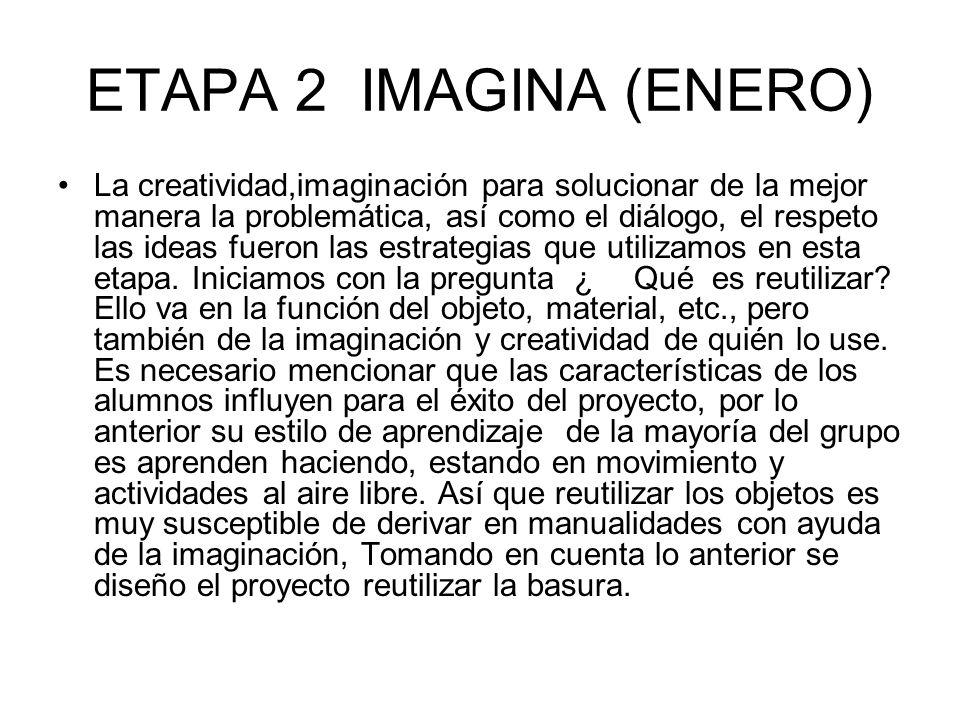 ETAPA 2 IMAGINA (ENERO) La creatividad,imaginación para solucionar de la mejor manera la problemática, así como el diálogo, el respeto las ideas fuero