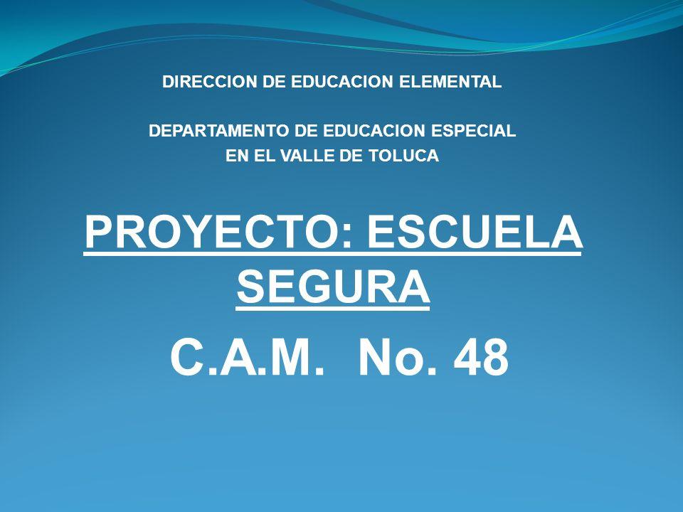 DIRECCION DE EDUCACION ELEMENTAL DEPARTAMENTO DE EDUCACION ESPECIAL EN EL VALLE DE TOLUCA PROYECTO: ESCUELA SEGURA C.A.M. No. 48
