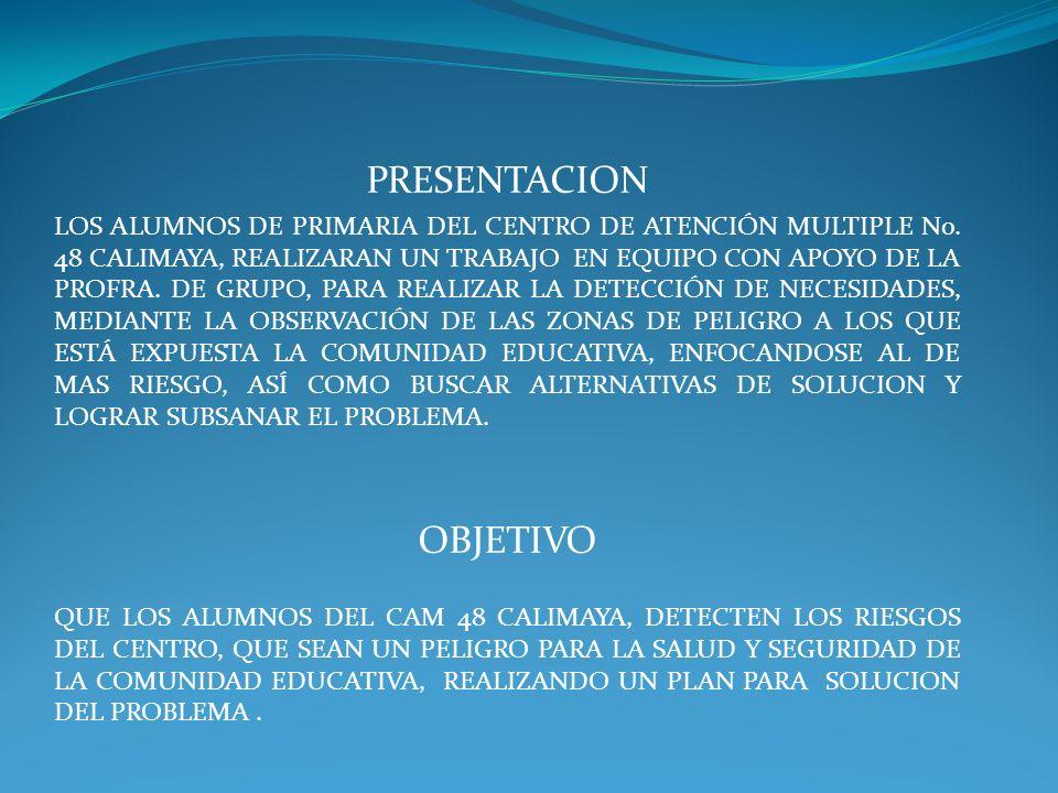 PRESENTACION LOS ALUMNOS DE PRIMARIA DEL CENTRO DE ATENCIÓN MULTIPLE No. 48 CALIMAYA, REALIZARAN UN TRABAJO EN EQUIPO CON APOYO DE LA PROFRA. DE GRUPO