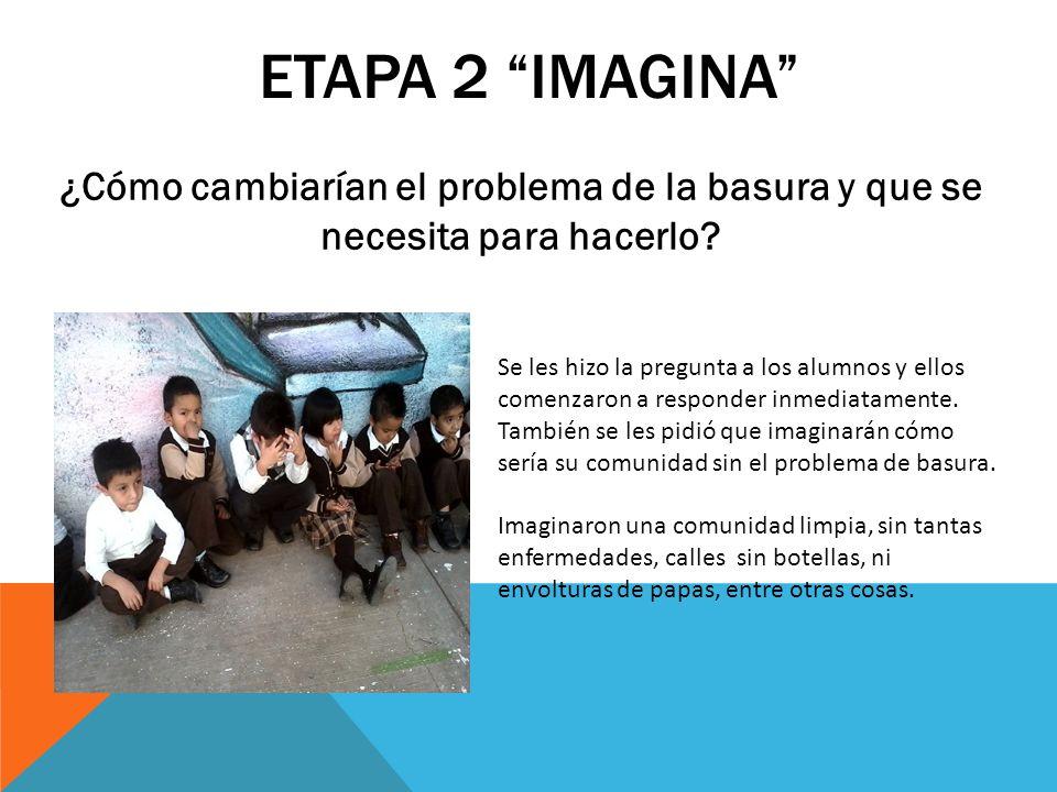 ETAPA 2 IMAGINA ¿Cómo cambiarían el problema de la basura y que se necesita para hacerlo? Se les hizo la pregunta a los alumnos y ellos comenzaron a r