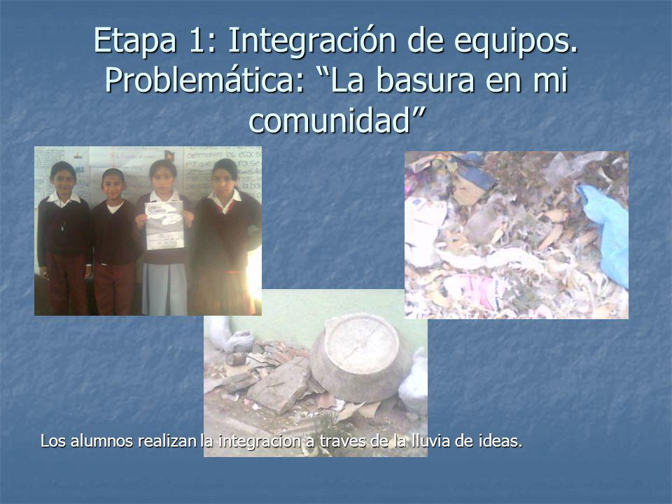 Etapa 1: Integración de equipos. Problemática: La basura en mi comunidad Los alumnos realizan la integracion a traves de la lluvia de ideas.