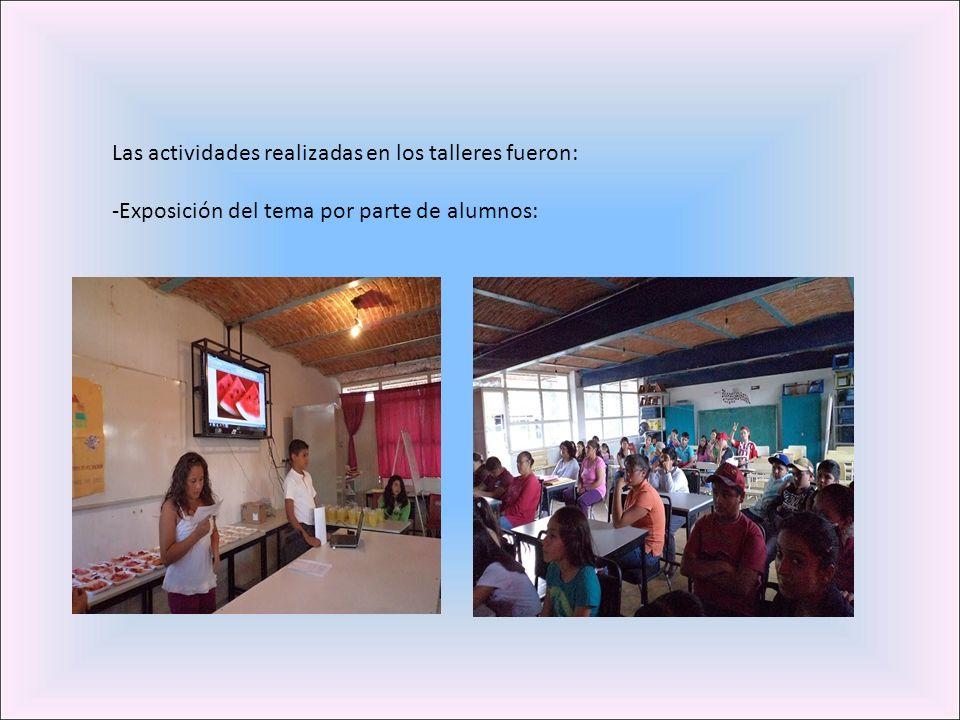 Las actividades realizadas en los talleres fueron: -Exposición del tema por parte de alumnos: