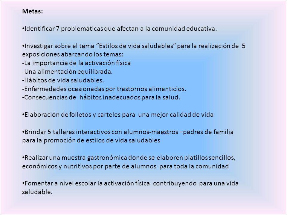 Metas: Identificar 7 problemáticas que afectan a la comunidad educativa. Investigar sobre el tema Estilos de vida saludables para la realización de 5