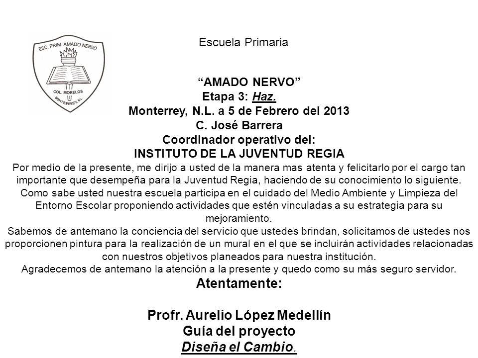 Escuela Primaria AMADO NERVO Etapa 3: Haz. Monterrey, N.L. a 5 de Febrero del 2013 C. José Barrera Coordinador operativo del: INSTITUTO DE LA JUVENTUD