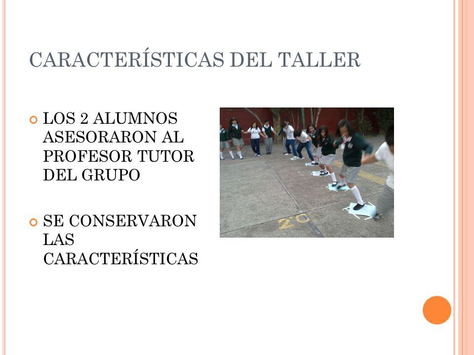 CARACTERÍSTICAS DEL TALLER LOS 2 ALUMNOS ASESORARON AL PROFESOR TUTOR DEL GRUPO SE CONSERVARON LAS CARACTERÍSTICAS