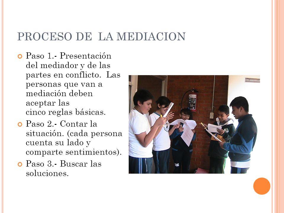 PROCESO DE LA MEDIACION Paso 1.- Presentación del mediador y de las partes en conflicto.