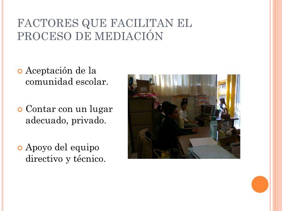 FACTORES QUE FACILITAN EL PROCESO DE MEDIACIÓN Aceptación de la comunidad escolar.