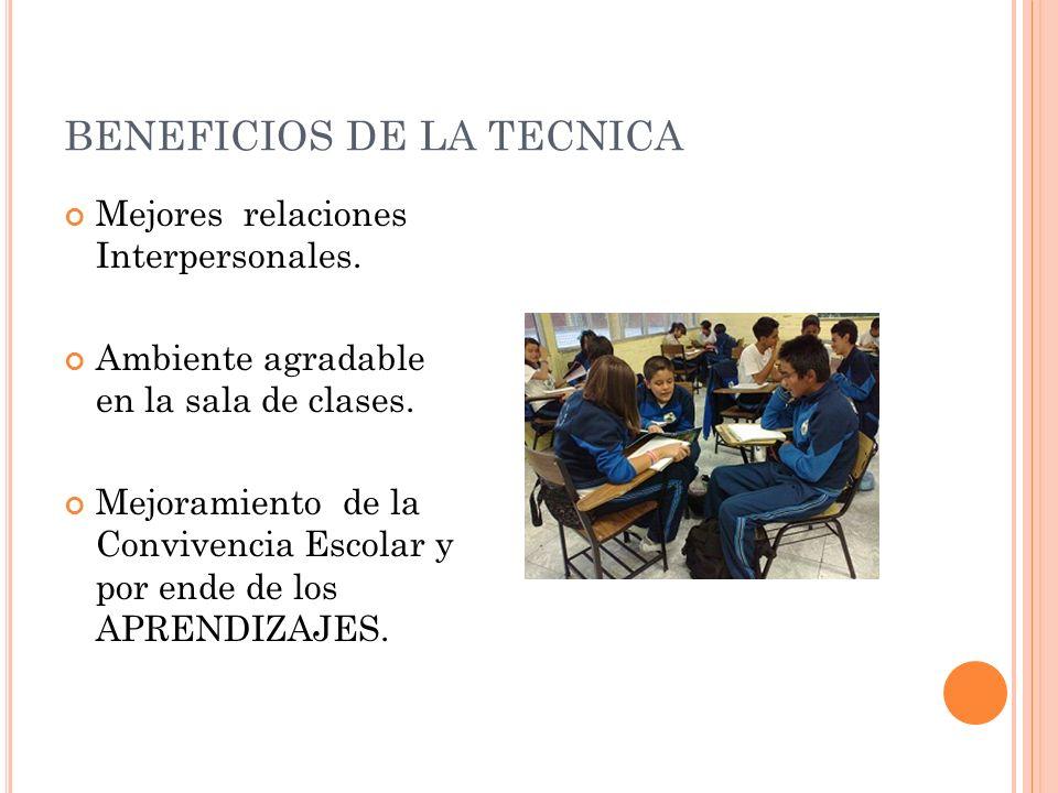 BENEFICIOS DE LA TECNICA Mejores relaciones Interpersonales.