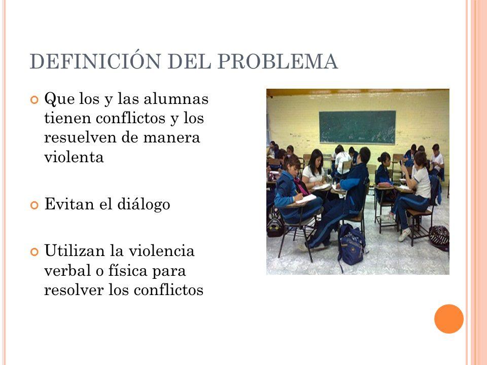 DEFINICIÓN DEL PROBLEMA Que los y las alumnas tienen conflictos y los resuelven de manera violenta Evitan el diálogo Utilizan la violencia verbal o física para resolver los conflictos