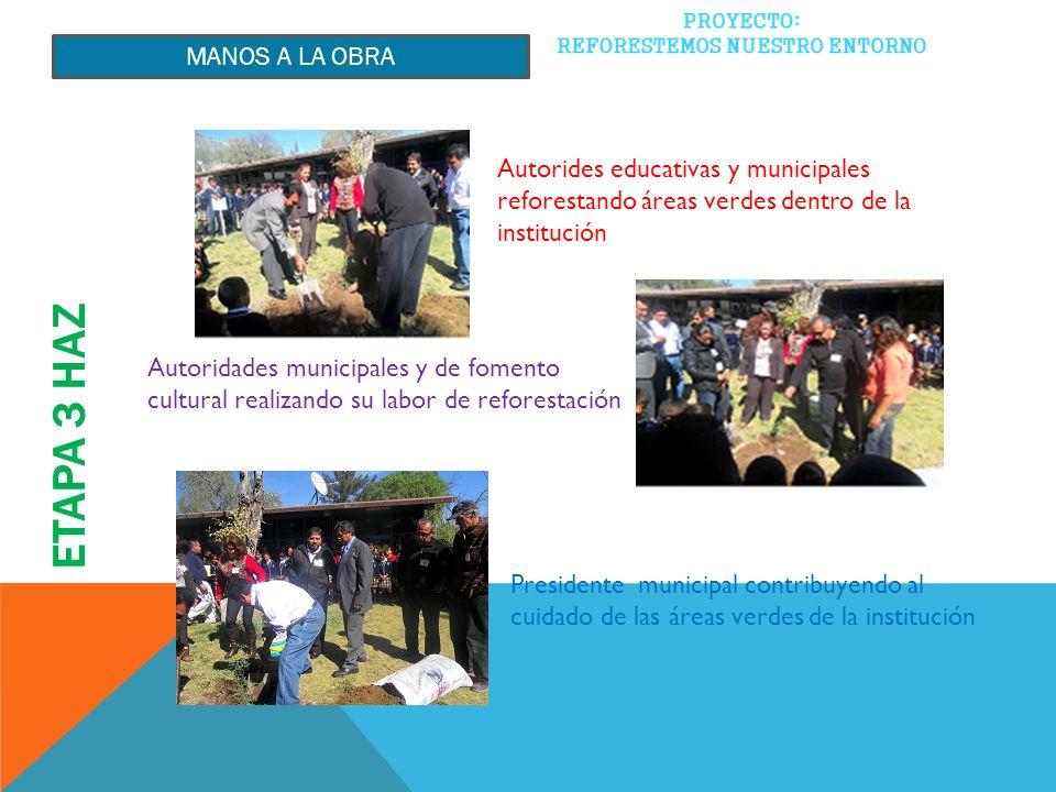 ETAPA 3 HAZ MANOS A LA OBRA Autorides educativas y municipales reforestando áreas verdes dentro de la institución Autoridades municipales y de fomento