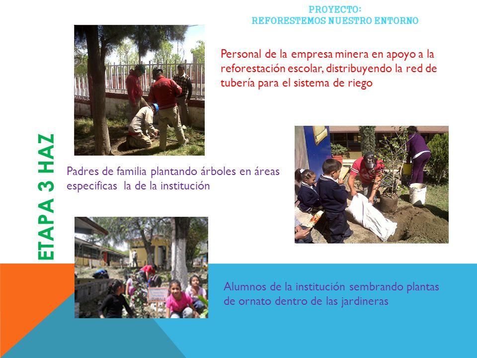 Personal de la empresa minera en apoyo a la reforestación escolar, distribuyendo la red de tubería para el sistema de riego Alumnos de la institución