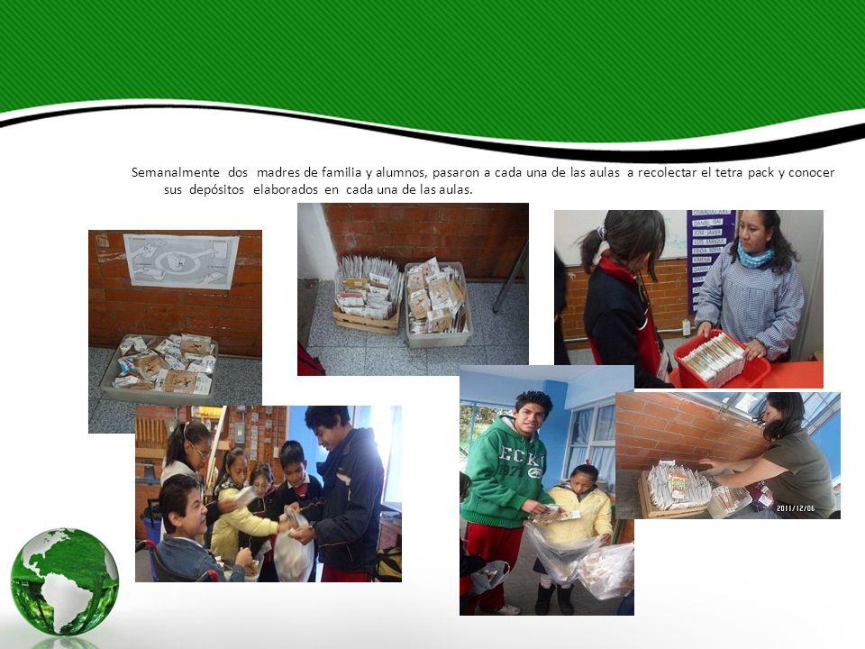 Semanalmente dos madres de familia y alumnos, pasaron a cada una de las aulas a recolectar el tetra pack y conocer sus depósitos elaborados en cada un