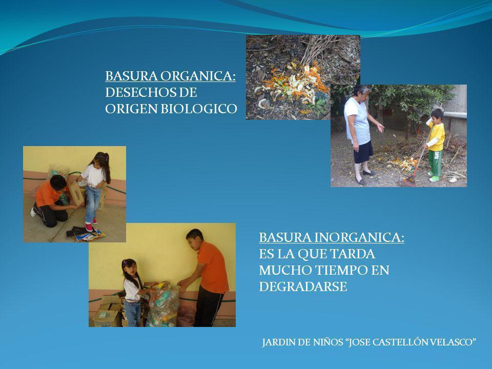BASURA ORGANICA: DESECHOS DE ORIGEN BIOLOGICO JARDIN DE NIÑOS JOSE CASTELLÓN VELASCO BASURA INORGANICA: ES LA QUE TARDA MUCHO TIEMPO EN DEGRADARSE