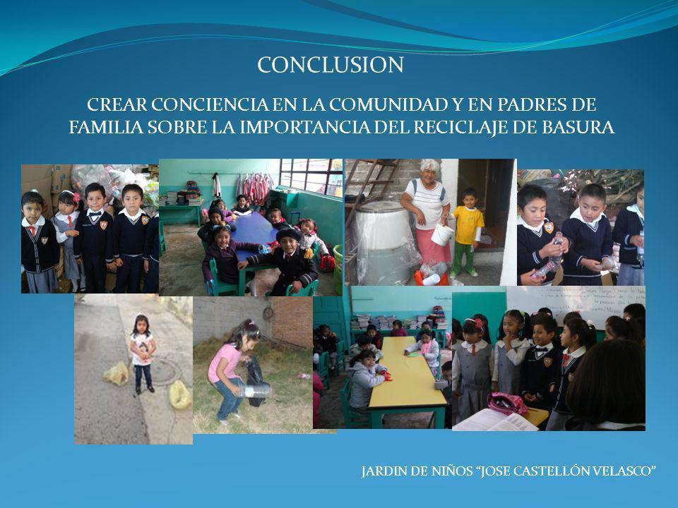 JARDIN DE NIÑOS JOSE CASTELLÓN VELASCO CONCLUSION CREAR CONCIENCIA EN LA COMUNIDAD Y EN PADRES DE FAMILIA SOBRE LA IMPORTANCIA DEL RECICLAJE DE BASURA