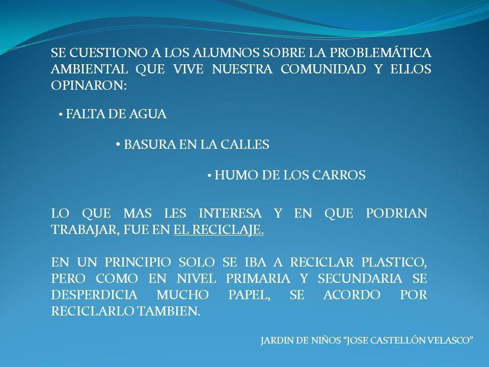 SE CUESTIONO A LOS ALUMNOS SOBRE LA PROBLEMÁTICA AMBIENTAL QUE VIVE NUESTRA COMUNIDAD Y ELLOS OPINARON: JARDIN DE NIÑOS JOSE CASTELLÓN VELASCO FALTA D