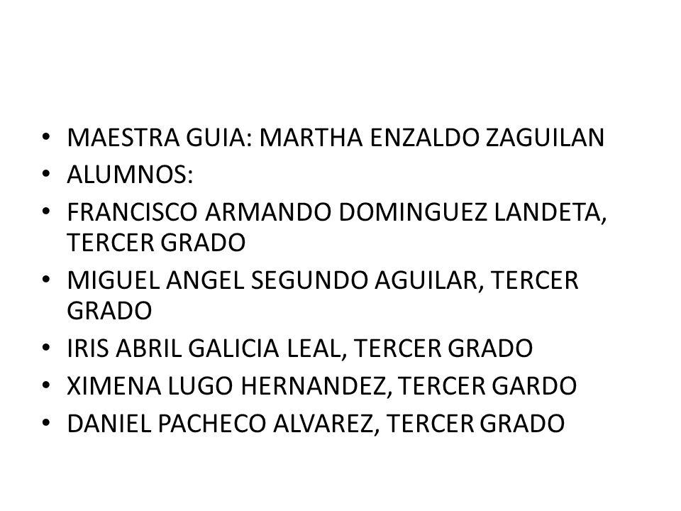 MAESTRA GUIA: MARTHA ENZALDO ZAGUILAN ALUMNOS: FRANCISCO ARMANDO DOMINGUEZ LANDETA, TERCER GRADO MIGUEL ANGEL SEGUNDO AGUILAR, TERCER GRADO IRIS ABRIL