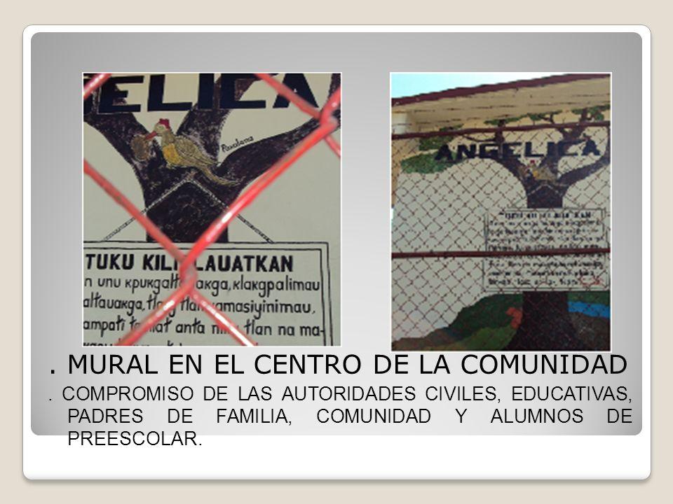 . MURAL EN EL CENTRO DE LA COMUNIDAD. COMPROMISO DE LAS AUTORIDADES CIVILES, EDUCATIVAS, PADRES DE FAMILIA, COMUNIDAD Y ALUMNOS DE PREESCOLAR.