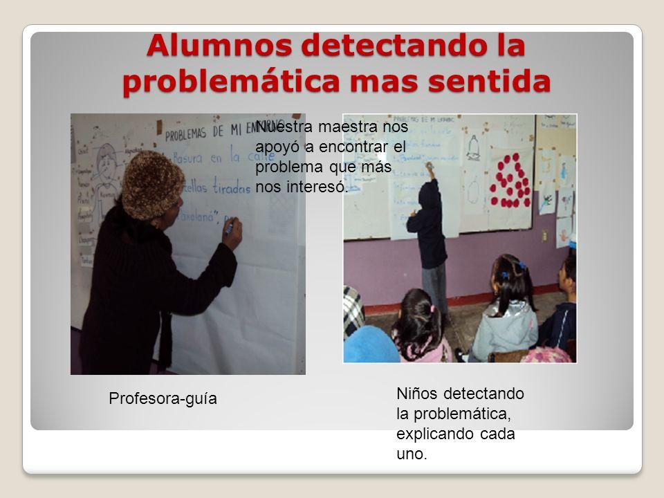 Alumnos detectando la problemática mas sentida Profesora-guía Niños detectando la problemática, explicando cada uno. Nuestra maestra nos apoyó a encon